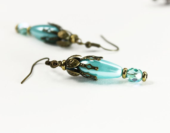 New Orleans, Vintage Floral Inspired Earrings Aqua Blue and Brass
