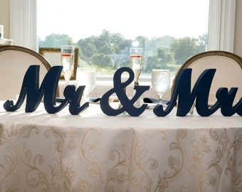 Mr Mrs Wedding Table Signs for Sweetheart Table Decor Wooden Letters, Large Mr & Mrs Sign Set (Item - MTS100)