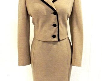 vintage mod dress & jacket set - 1960s Robert Leonard designer taupe/black mod knit belted dress set