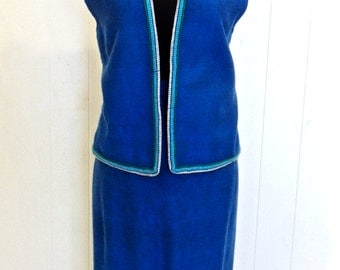 vintage blue wool skirt set - 1960s bright blue southwestern-print vest/skirt set