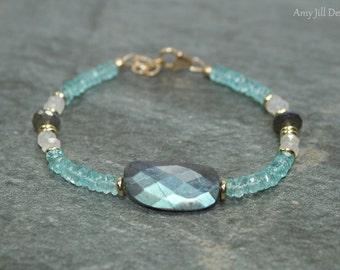 Labradorite Bracelet, Apatite Moonstone Brass Beaded Bracelet, Blue Flash, Gemstone Jewelry