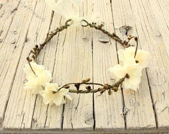AUGUSTA Cream Woodland Crown, Bridal Flower Crown, Woodland Boho Headpiece,Headband, Floral Headband, Flower Headpiece, Wedding Headpiece