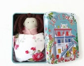 Pocket doll in a tin box. miniature doll. worry little doll toy. Gift for toddler, baby girls and boys,Free Shipping