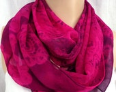 Silk scarf extra long chiffon Battenburg Lace Heart unique painted dyed pink purple magenta