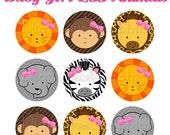 "Baby Girl Zoo Animal Pals Bottle  Cap 1"" Circles - Digi Images Zebra, Lion, Monkey, Elephant, Giraffe, Polka Dot Stripes Girl - NO.237"
