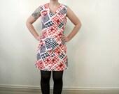 Mod 60s Dress // Vintage 1960s Cotton Dress // Novelty Print Houndstooth Dress // Short Sleeve Shift Dress // Plus Size Dress Large XL