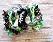 OTT Irish Dancing Shoe Boutique Style Hair Bow Green Black White Gold St. Patrick's Day