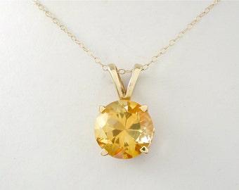 Citrine Pendant, Simple Pendant, Minimalist Pendant, Citrine Solitaire, Golden Quartz, November Birthstone, Traditional Simple Gift for Her