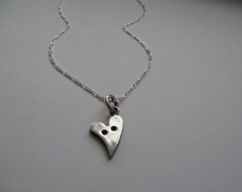 Heart Button pendant sterling silver / button necklace / 925 / chain / valentine gift