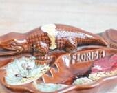 Florida Alligator Ashtray, Vintage Florida Souvenir, Kitsch Collectible, Retro Americana, Ceramic Brown Ash Tray, Made Japan, Tropical