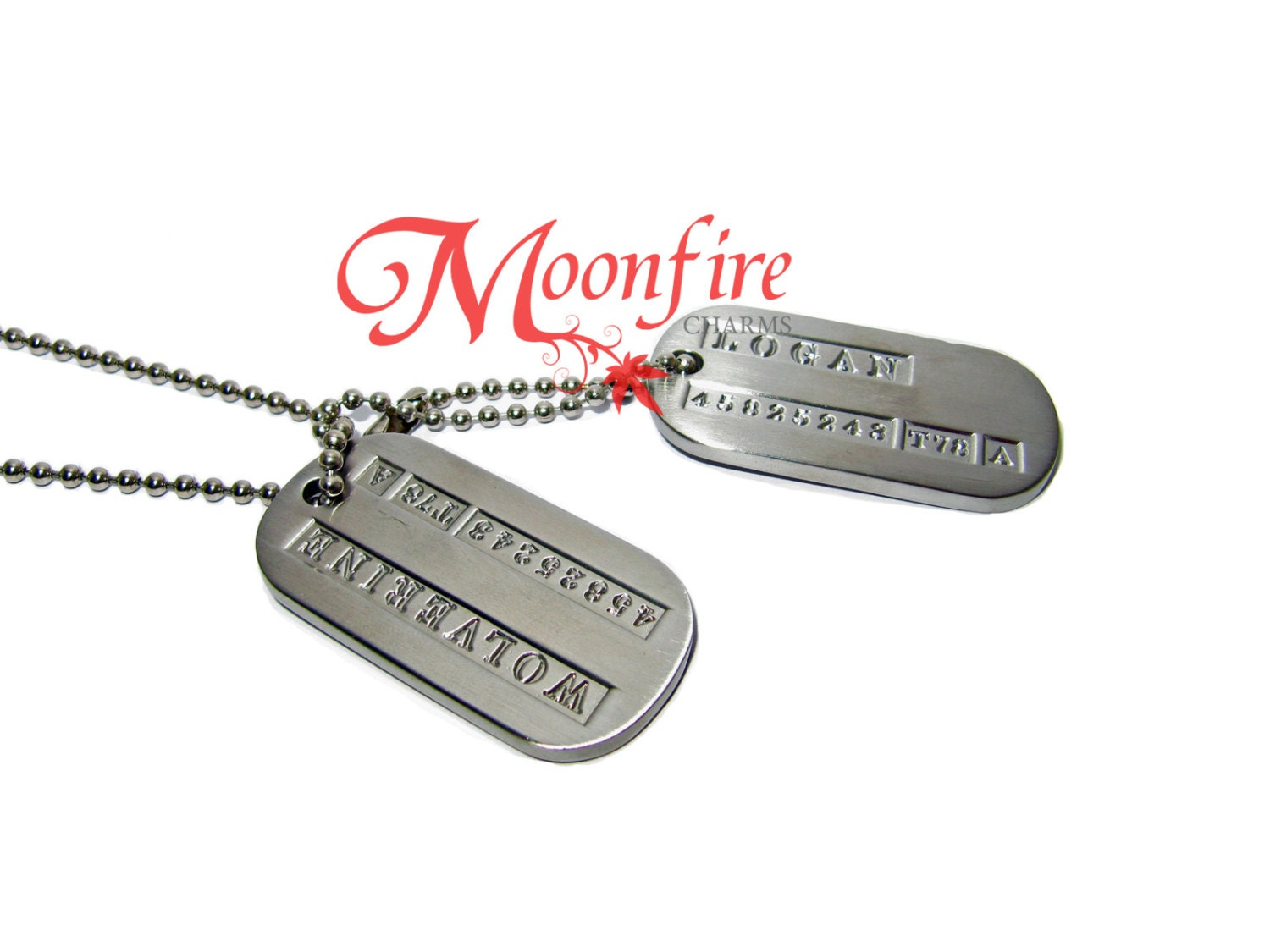 Logan Military Dog Tags Necklace By Moonfirecharms On Etsy