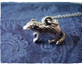 Silver Badger Necklace - Sterling Silver Badger Charm on a Delicate 18 Inch Sterling Silver Cable Chain