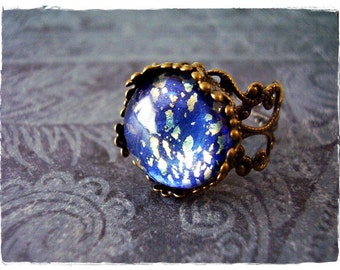 Round Blue Earth Opal Glass Cabochon Ring - Ornate Antique Brass Filigree Band