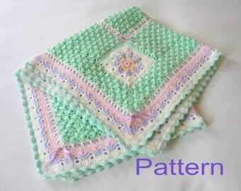 Crochet Baby Girl Blanket PDF Pattern Flowers in the Meadow Afghan Original Design