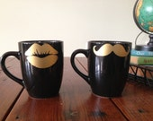 Set of 2 His and Hers Black Mugs with Gold Lips and Mustache Stocking Stuffer - Coffee, Tea, Latte