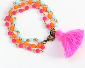 Girls Beaded Pink Tassel Bracelet