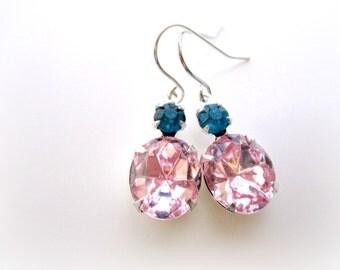 Pink Crystal Earrings, Pink Blue Jewel Rhinestones, Swarovski Crystal in Silver