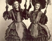Young Women In Identical Dress Holding UNUSUAL DECORATIVE ARCHED Ribbons Photo Circa 1905 Chicago Illinois