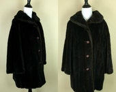 60s Black Faux Fur Coat / 1960s Brown Coat / Tissavel Faux Coat L XL