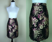 90s Brocade Pencil Skirt / 80s Floral Metallic Skirt / Black High Waist Skirt Ellen D L