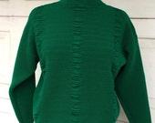 80s Vintage Dark Green Cropped Acrylic Sweater Vintage Pullover Mock Turtleneck Jumper Medium Women Parrinello