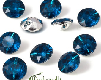 Acrylic rhinestone buttons - teal - set of 10 buttons - F020-11mm-M