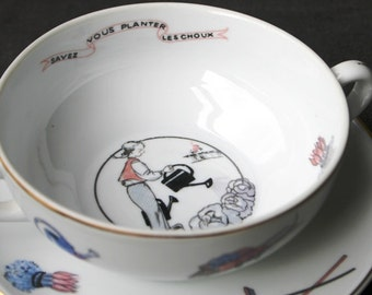 Do you know how to plant cabbages ? Vintage French nursery rhyme song baby cup. Children dinnerware.