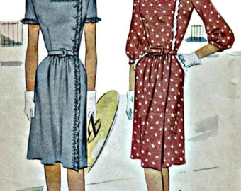 1940s Vintage Dress Pattern McCALL 6399  Feminine Day Dress with Side Closing Bodice Circa 1947 Vintage Pattern Bust 30