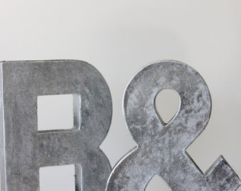 2 Faux Metal Letters Zinc Steel Initial Home Room Decor Diy Signs Letter Glitter Vintage Style