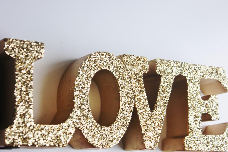 Gold love sign glittered golden love letters signage free for Letter k decoration