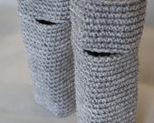 Soft grey crocheted fingerless gloves / wrist warmers for chilly Autumn, Winter & Spring