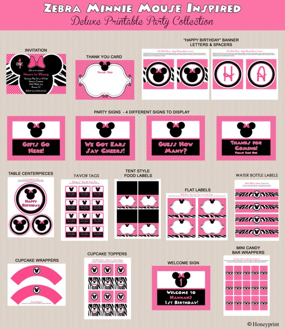 Minnie mouse birthday party package minnie mouse by honeyprint for 1st birthday decoration packages