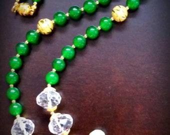 Dynasty Emerald Green Dyed Jade Necklace Rock Crystal Quartz Coral