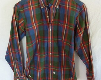 Polo by RALPH LAUREN Vintage 1980s Plaid Button Front Shirt - Embroidered Iconic Logo - Button Down Collar - Long Sleeve - crisp cotton