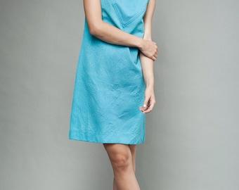 "vintage 60s MOD shift dress turquoise blue yoke sleeveless M L (38"" bust)"