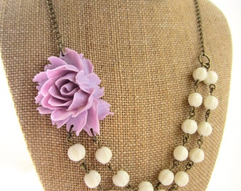 Beaded Flower Necklace Lavender Statement Necklace Double Strand Necklace Lavender Bridesmaid Jewelry