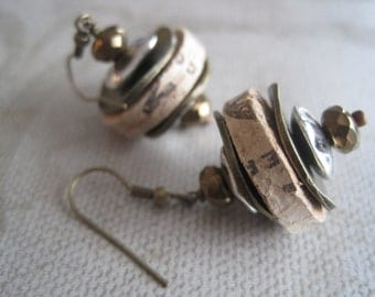 Cork Earrings with Antique Bronze and Silver Accents-Recycled Wine Cork