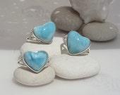 Destash Larimar rings, Blue Romance - 3 sea blue Larimar hearts, blue heart ring, love rings, bridesmaids rings, siren hearts, handmade ring