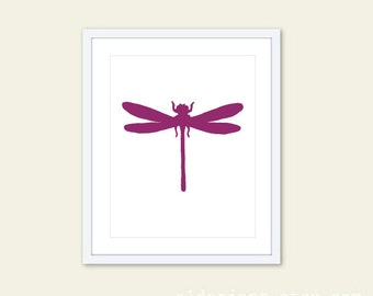 Dragonfly Art Print - Modern Wall Art - Dragonfly Insect Print - Violet Purple
