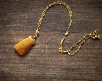 Honey Orange Amber triangle in on Gold colour chain - Baltic amber choker necklace, Christmas gift