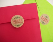 Vintage Kraft Christmas labels, envelope seals, Merry Christmas or Happy Holidays stickers, canning jar labels, mason jar labels