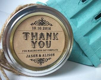 Thank You KRAFT paper canning jar labels, custom round jam jar stickers, custom wedding and bridal shower favor jar labels