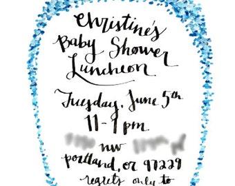 baby shower invite, custom - blue dots border - baby shower, baby shower luncheon, custom watercolor design, handwritten invite, event