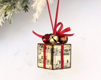 Small Sheet Music Christmas Tree Ornament Red Jingle Bells Christmas Present Package Decoration
