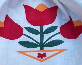 Tulip print cotton apron Zig Zag ric rac PA Dutch Holiday Baking or Traditional Costume