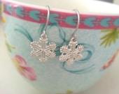 Silver snow flake earrings - small snow flakes winter earrings