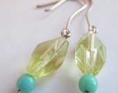 Pale Yellow and Seafoam Dangly Earrings with Handmade Wires