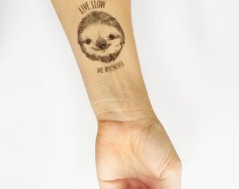 BRAND NEW Sloth - live slow die whenever card with matching temporary tattoo