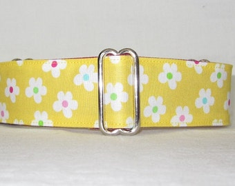 SALE Yellow Tutti Frutti Martingale Dog Collar - 1.5 or 2 Inch - fun cute flowers floral pink green white