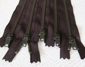 12inch - Dark Chocolate Brown Metal Zipper - Brass Teeth - 5pcs